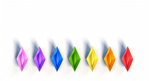 Gruppo di barchette di carta con i colori dell'arcobaleno. rendering 3d.