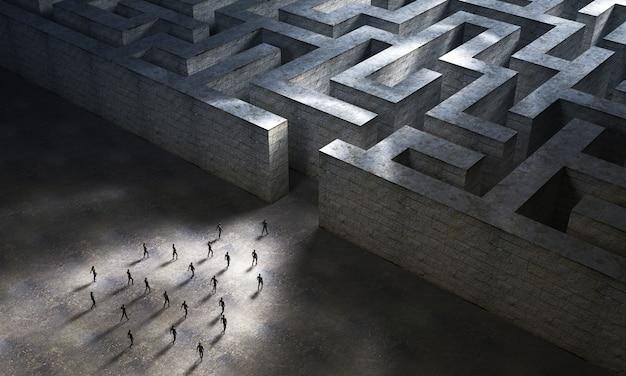 Un gruppo di persone si dirige verso l'ingresso di un grande labirinto di pietra. rendering 3d