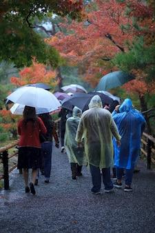 Gruppo di persone che camminano nel parco del cambio di stagione contro la pioggia kyoto giappone