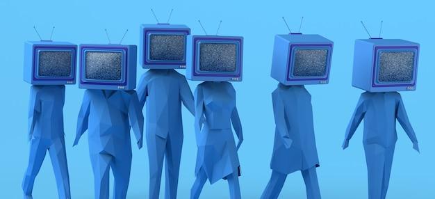 Gruppo di persone che camminano con un vecchio televisore invece della testa controllo dei mass media copia spazio