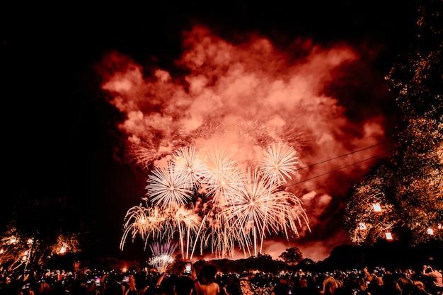 Gruppo di persone che guardano i fuochi d'artificio e usano i cellulari per registrare l'evento. persone che catturano uno spettacolo pirotecnico con il proprio telefono cellulare. celebrazione di fuochi d'artificio colorati e sfondo del cielo notturno
