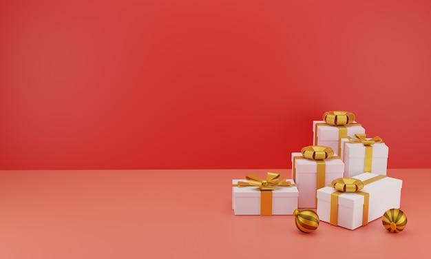 Gruppo di regali realistici con nastri d'oro per il compleanno o la festa di natale in rosso