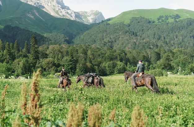Un gruppo di cavalieri a cavallo nel campo sullo sfondo delle cime delle montagne.