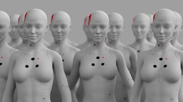 Gruppo di robot nell'immagine femminile in piedi in file di intelligenza artificiale e concetto di robotica