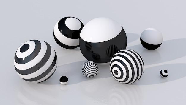 Gruppo di palline bianche e nere a strisce. illustrazione astratta, rendering 3d.