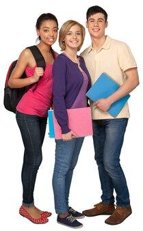 Gruppo di studenti isolato su bianco