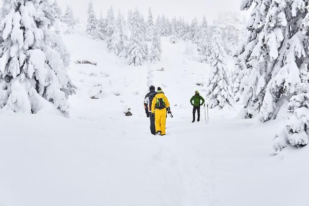 Gruppo di turisti in una foresta innevata di montagna invernale