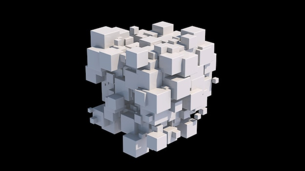 Gruppo di cubi bianchi. sfondo nero. illustrazione astratta, rendering 3d.