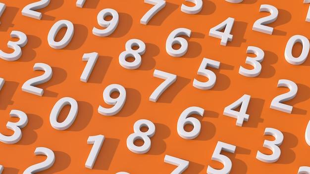 Gruppo di numeri bianchi. sfondo arancione. illustrazione astratta, rendering 3d.