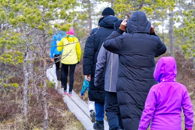Un gruppo di giovani che camminano lungo le passerelle sulla natura della torbiera esplorando gli amici che fanno escursioni nella palude o nel sentiero della palude boardwalk estonia
