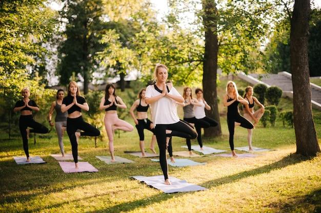 Un gruppo di giovani donne sono in piedi in posa namaste mattina nel parco cittadino mentre sorge l'alba. gruppo di persone che meditano sotto la guida dell'istruttore. le ragazze sono in equilibrio su un tappetino da yoga su una gamba all'alba