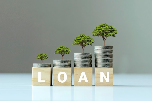 Pianta in crescita su mucchio di monete e blocco di legno con testo di prestito, idee finanziarie e crescita del credito.