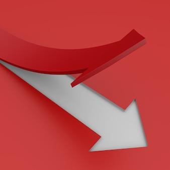 Grafico commerciale rosso crescente. illustrazione 3d