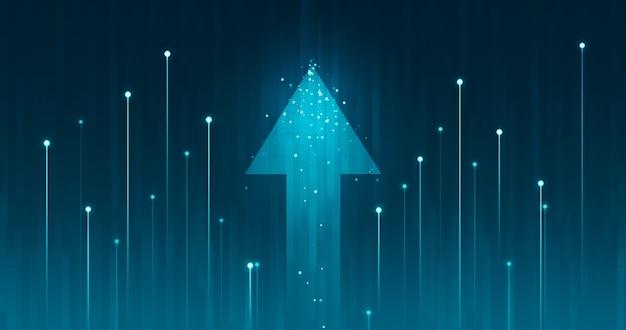 Freccia di crescita su e progresso successo abilità aziendale aumento grafico miglioramento sullo sfondo delle azioni di profitto di mercato con l'obiettivo del raggiungimento di un'economia finanziaria futuristica.