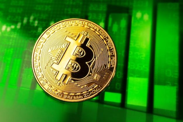 Crescita della criptovaluta bitcoin, foto di sfondo aziendale e finanziario