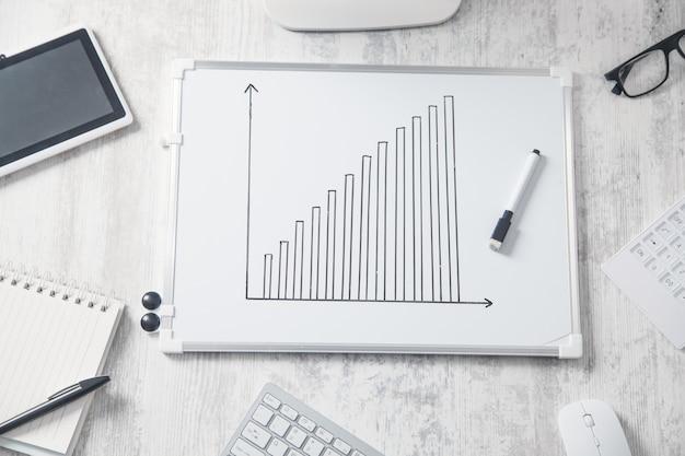 Grafico di crescita nella scrivania in ufficio. concetto di sviluppo aziendale