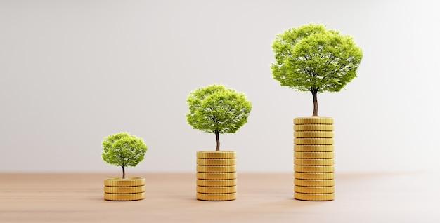 Albero di crescita sull'aumento delle monete d'oro che si impilano su un tavolo di legno per il concetto di deposito di risparmio finanziario bancario e di investimento mediante rendering 3d.