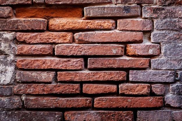 Fondo del muro di mattoni di lerciume. vecchio frammento esposto all'aria del muro di mattoni.