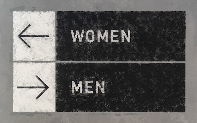 Segni grunge con frecce che indicano due direzioni opposte verso uomini e donne.