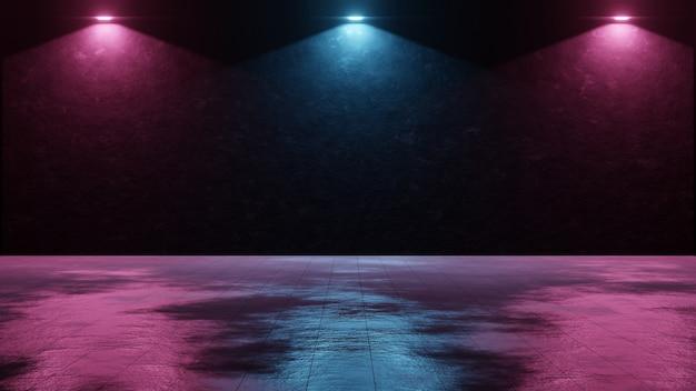 Superficie stradale grunge con riflesso dalle luci a led del backstage