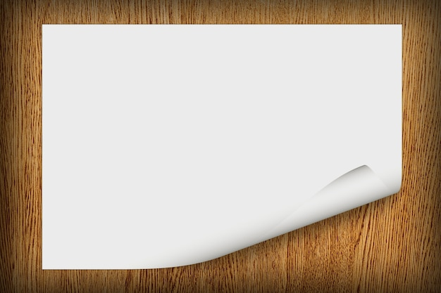 Fondo di legno di lerciume con carta bianca