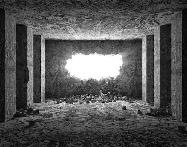 Interno sgangherato con muro di cemento rotto
