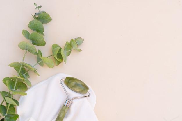 Gua sha close up, rullo di giada verde per massaggio facciale in pietra naturale con eucalipto naturale