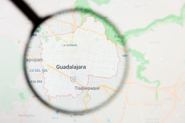 Concetto illustrativo di visualizzazione di guadalajara, città del messico sullo schermo tramite la lente d'ingrandimento