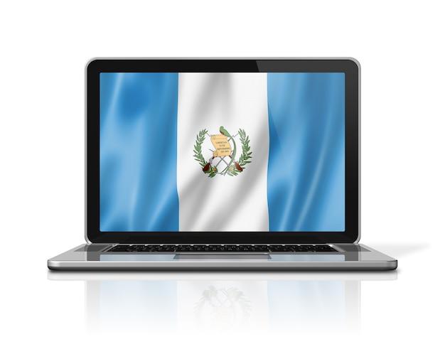 Bandiera del guatemala sullo schermo del computer portatile isolato su bianco. rendering di illustrazione 3d.