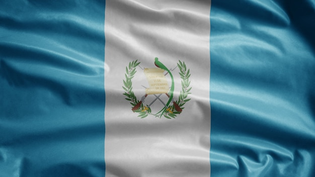 Bandiera guatemalteca che ondeggia nel vento. close up guatemala banner soffiando, seta morbida e liscia