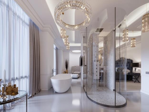 Camera per gli ospiti con bagno aperto, doccia, lavabo e vasca. suite moderna. rendering 3d.