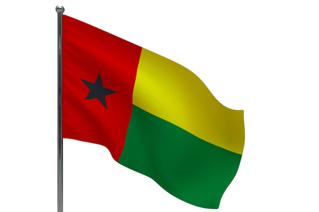 Bandiera della guinea-bissau in pole. pennone in metallo. bandiera nazionale della guinea-bissau 3d'illustrazione su bianco