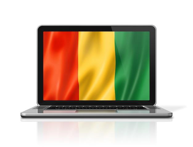 Bandiera della guinea sullo schermo del computer portatile isolato su bianco. rendering di illustrazione 3d.