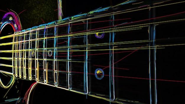 Manico della chitarra. pittura al neon di colore astratto.