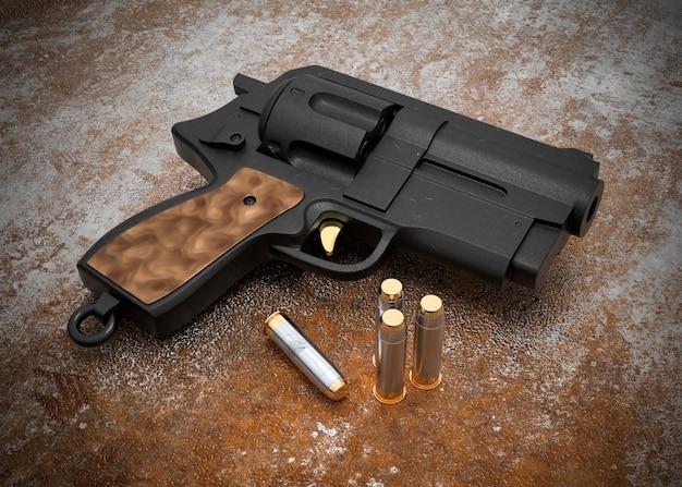 Pistola con proiettili su sfondo arrugginito