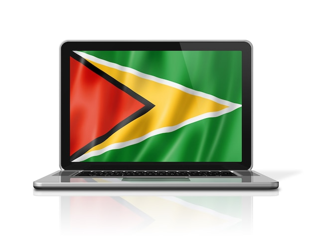 Bandiera della guyana sullo schermo del computer portatile isolato su bianco. rendering di illustrazione 3d.