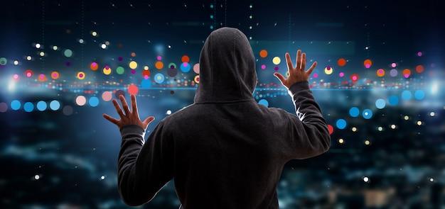 Hacker che attiva le informazioni di dati di scambio di borsa di affari