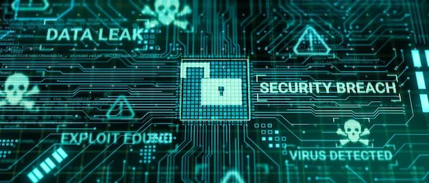 Hacker attacca il microchip dell'hardware del computer durante l'elaborazione dei dati attraverso la rete internet, rendering 3d insicuro cyber security sfrutta il concetto di violazione del database, schermata di avviso di sblocco di virus malware