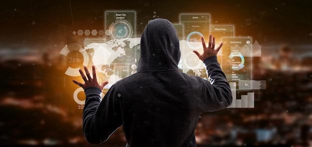 Uomo di hacker che tiene schermate dell'interfaccia utente con icone, statistiche e dati