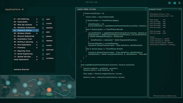 Schermata dell'hacker con più finestre che mostrano stringhe di codice e tentano di hackerare i server. attacco informatico e criminalità