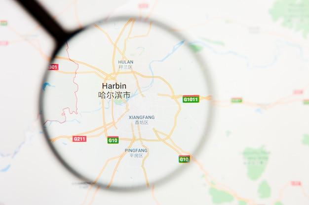 Concetto illustrativo di visualizzazione della città di haerbin sullo schermo tramite la lente d'ingrandimento