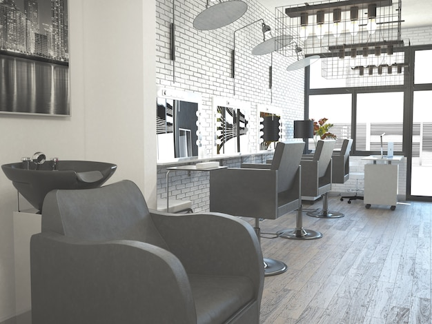 Interno di parrucchiere salone di stile di capelli