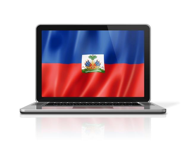 Bandiera di haiti sullo schermo del computer portatile isolato su bianco. rendering di illustrazione 3d.