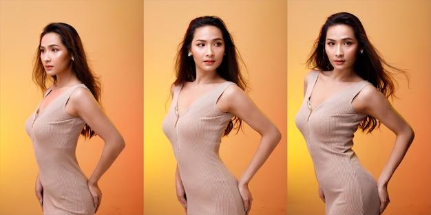 Half body portrait of 20s asian lgbtqia+ pantaloni larghi bianchi da donna con capelli neri. transgender girl gira di 360 gradi intorno alla vista posteriore del lato posteriore molte pose su sfondo bianco isolato