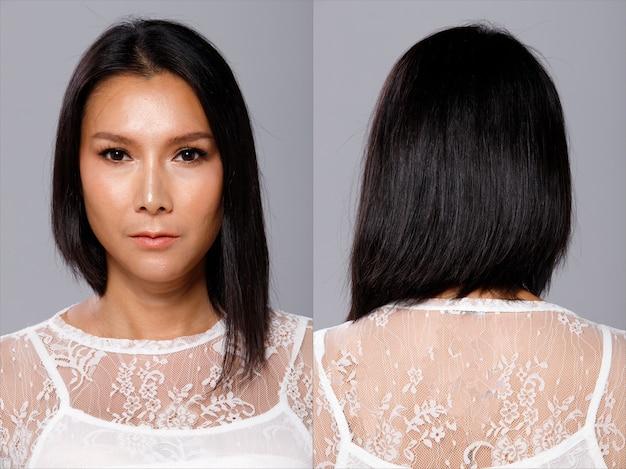 Mezzo corpo ritratto di donna asiatica anni '40 pantaloni larghi bianchi con capelli neri. lgbt transgender gira di 360 gradi intorno alla vista posteriore del lato posteriore molte pose su sfondo grigio isolato