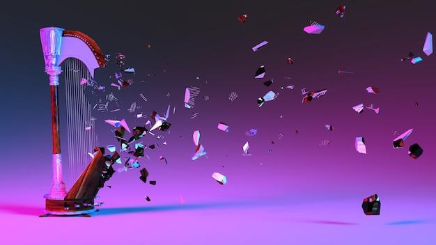 Arpa mezza distrutta con frammenti volanti in illuminazione al neon, illustrazione 3d