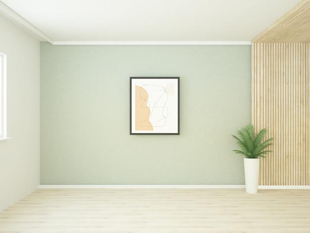 Stanza semivuota con pannello a parete in legno e parquet