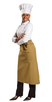 Ritratto a mezzo busto di donna afro-americana chef over white
