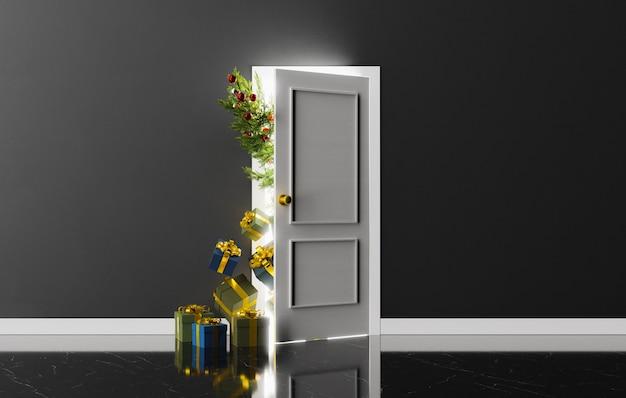 Porta semiaperta con un albero di natale e regali che fanno capolino con una luce intensa. rendering 3d