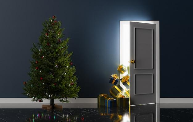 Porta semiaperta con regali che spuntano e un albero di natale. rendering 3d